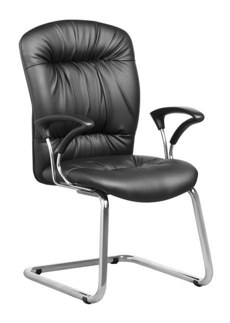 Black bonded leather visitor's chair