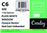 C6 ENVELOPES 114 X 162MM Seal Easi Window - Opaque