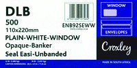 DL BANKER ENVELOPES 110 X 220MM Seal Easi - Opaque Window Banker
