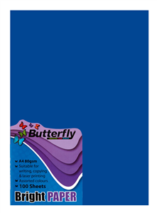 BUTTERFLY - A4 80GSM BRIGHT PAPER A4 - Blue