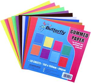 BUTTERFLY - GUMMED PAPER 150mm x 150mm - Assorted