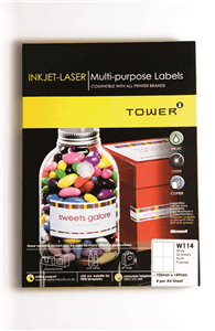 TOWER - A4 INKJET LASER LABELS 105 x 149mm