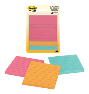 3M - LINED POST-IT NOTES 76 x 76mm - Assorted
