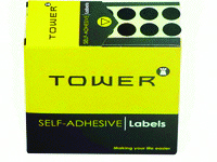TOWER - ROUND COLOUR CODE LABELS 10mm - Black