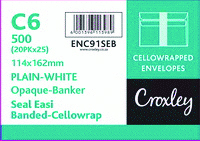 C6 ENVELOPES 114 X 162mm Seal Easi Cello Wrapped - White 25 Pack