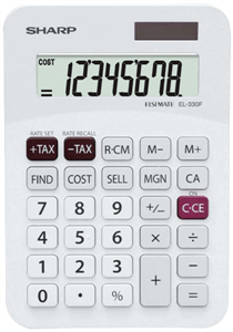 SHARP - EL-330 MINI DESK CALCULATOR 8 Digit - White