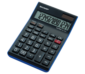 SHARP - EL-145T DESKTOP CALCULATOR 14 Digit - Black/ Blue