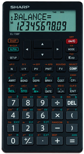 SHARP - EL738 FINANCIAL CALCULATOR Statistics - Black / Red