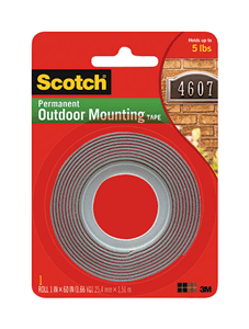 3M - SCOTCH OUTDOOR MOUNTING TAPE 12.5mm x 20.3m 25mm Core