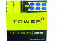 TOWER - ROUND COLOUR CODE LABELS 10mm - Blue 700 Pack