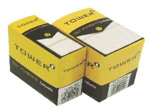 TOWER - WHITE ROLL LABELS 19 x 25mm - White 490 Pack